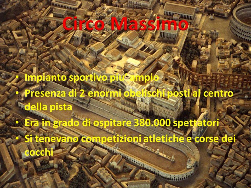 Impianto sportivo piu ampio Presenza di 2 enormi obelischi posti al centro della pista Era in grado di ospitare 380.000 spettatori Si tenevano competizioni atletiche e corse dei cocchi