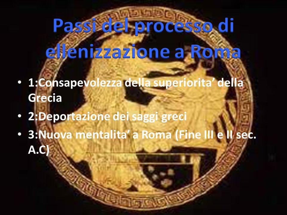 1:Consapevolezza della superiorita della Grecia 2:Deportazione dei saggi greci 3:Nuova mentalita a Roma (Fine III e II sec.