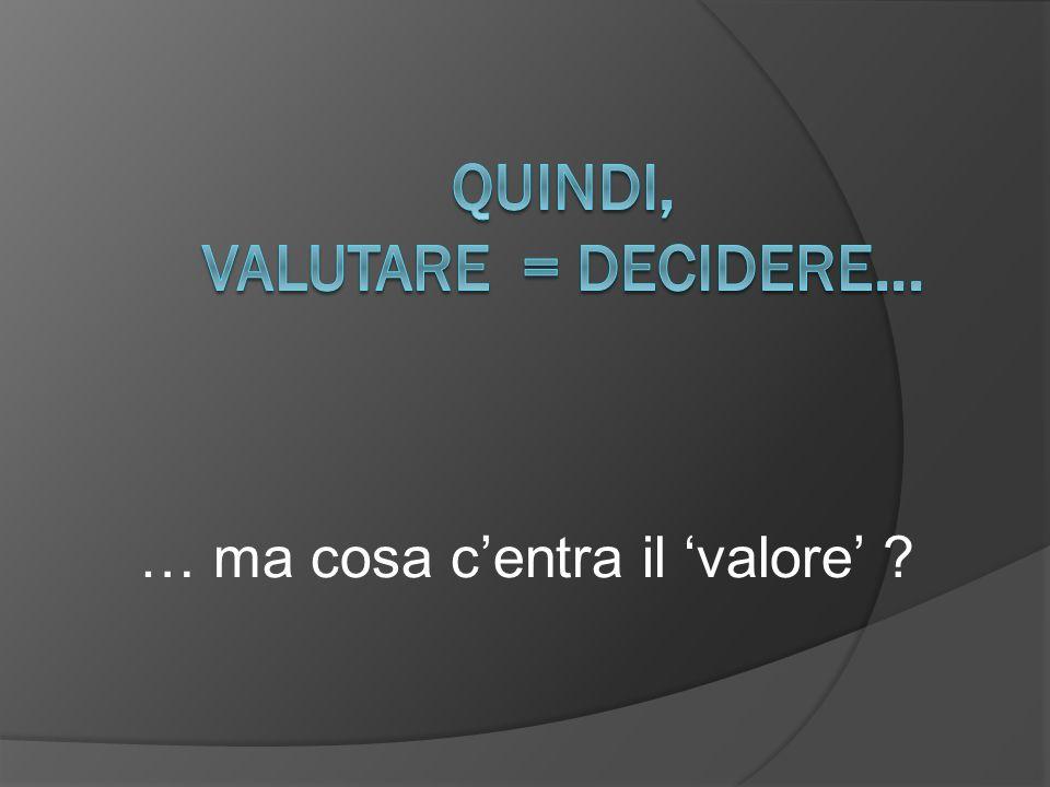 COSTI CRITERIO DI VALUTAZIONE: PRINCIPIO DEL COSTO-OPPORTUNITA