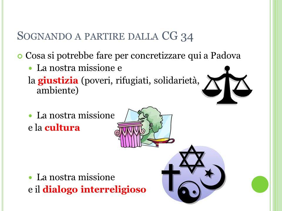 S OGNANDO A PARTIRE DALLA CG 34 Cosa si potrebbe fare per concretizzare qui a Padova La nostra missione e la giustizia (poveri, rifugiati, solidarietà, ambiente) La nostra missione e la cultura La nostra missione e il dialogo interreligioso