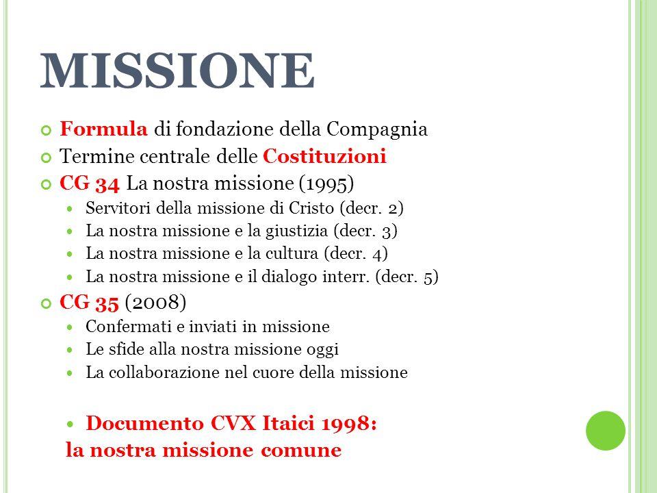 MISSIONE Formula di fondazione della Compagnia Termine centrale delle Costituzioni CG 34 La nostra missione (1995) Servitori della missione di Cristo (decr.