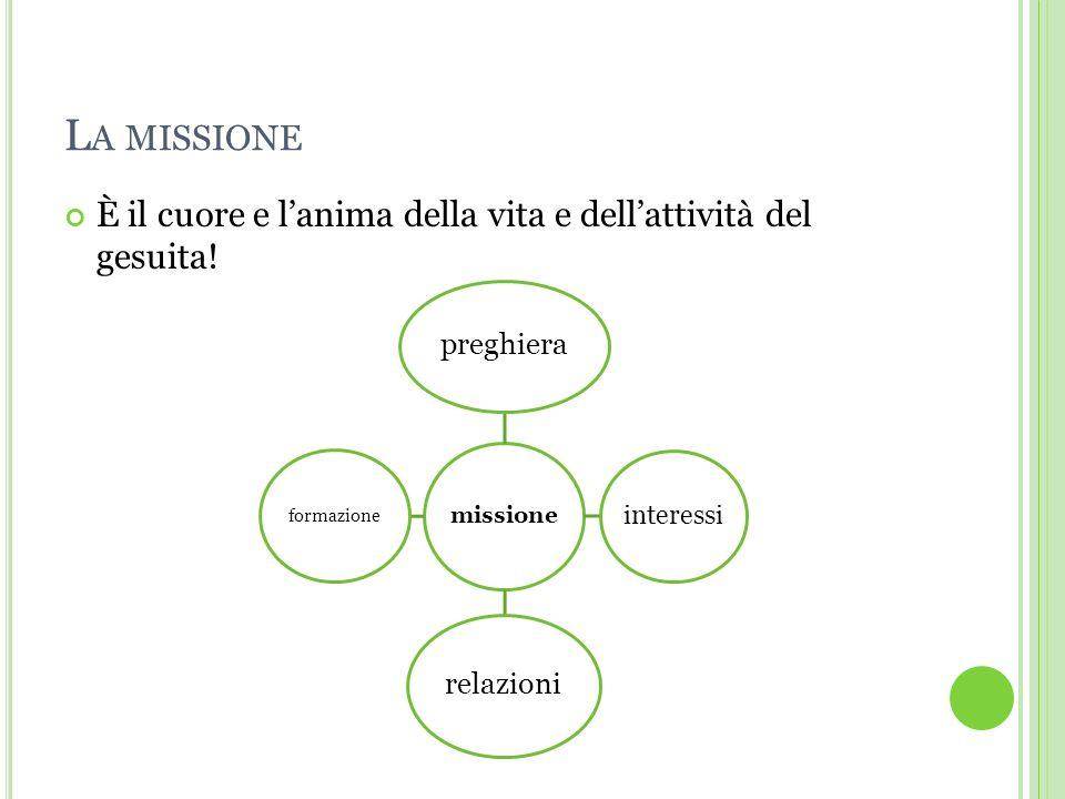 L A MISSIONE È il cuore e lanima della vita e dellattività del gesuita.