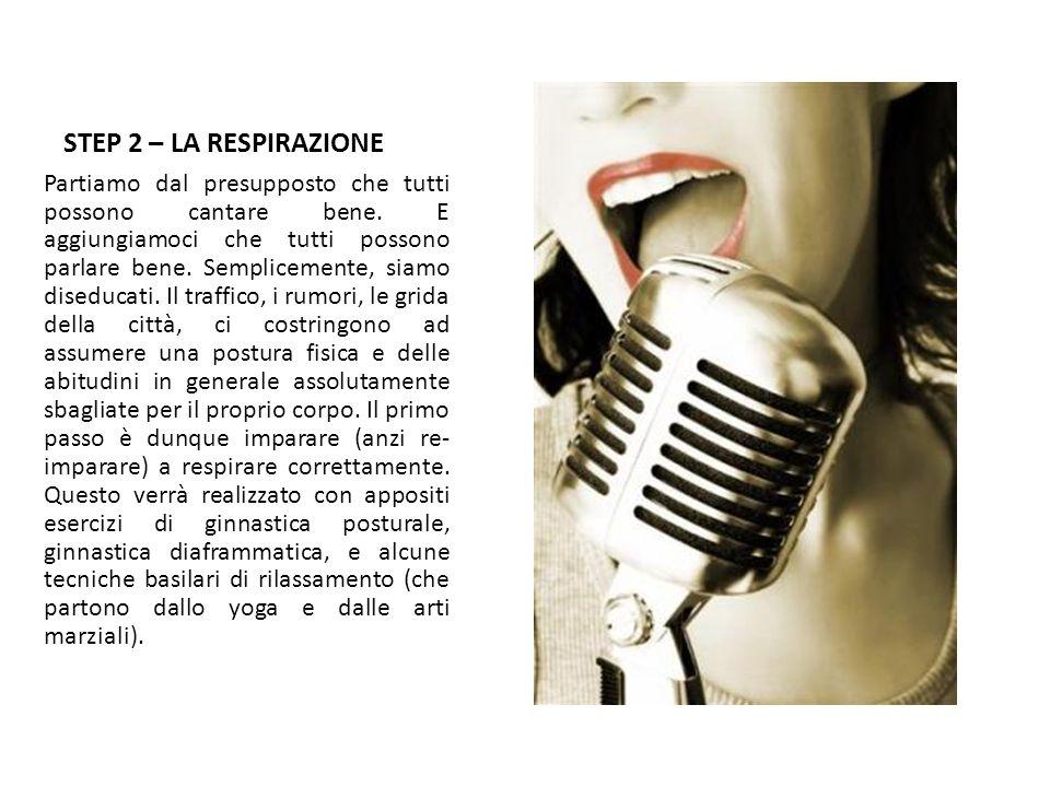 STEP 2 – LA RESPIRAZIONE Partiamo dal presupposto che tutti possono cantare bene. E aggiungiamoci che tutti possono parlare bene. Semplicemente, siamo