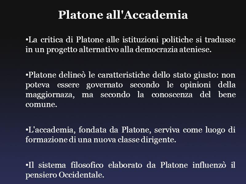 Platone all'Accademia La critica di Platone alle istituzioni politiche si tradusse in un progetto alternativo alla democrazia ateniese. Platone deline