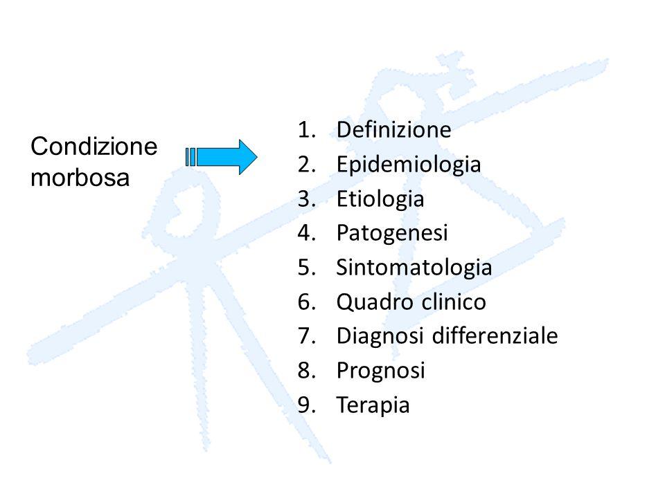 1.Definizione 2.Epidemiologia 3.Etiologia 4.Patogenesi 5.Sintomatologia 6.Quadro clinico 7.Diagnosi differenziale 8.Prognosi 9.Terapia Condizione morb