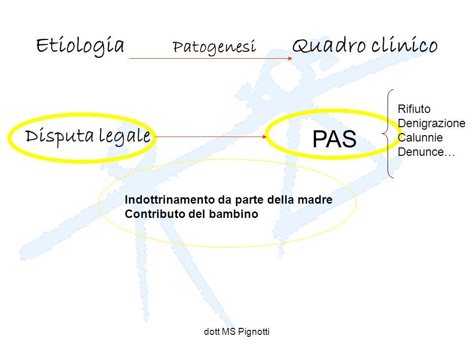 dott MS Pignotti Etiologia Patogenesi Quadro clinico Disputa legale Indottrinamento da parte della madre Contributo del bambino PAS Rifiuto Denigrazio