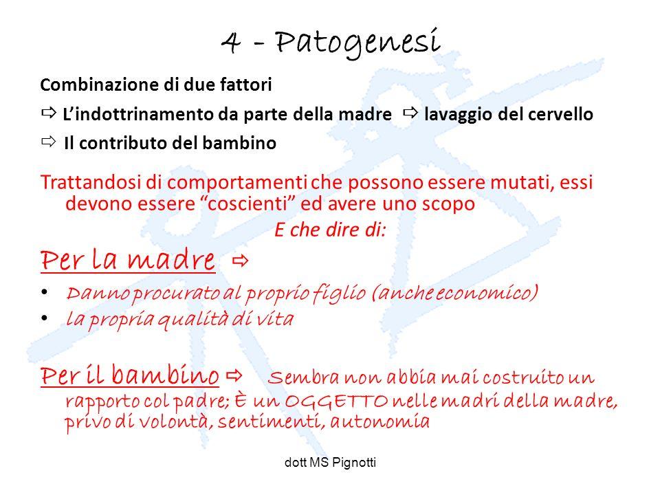 dott MS Pignotti 4 - Patogenesi Combinazione di due fattori Lindottrinamento da parte della madre lavaggio del cervello Il contributo del bambino Trat