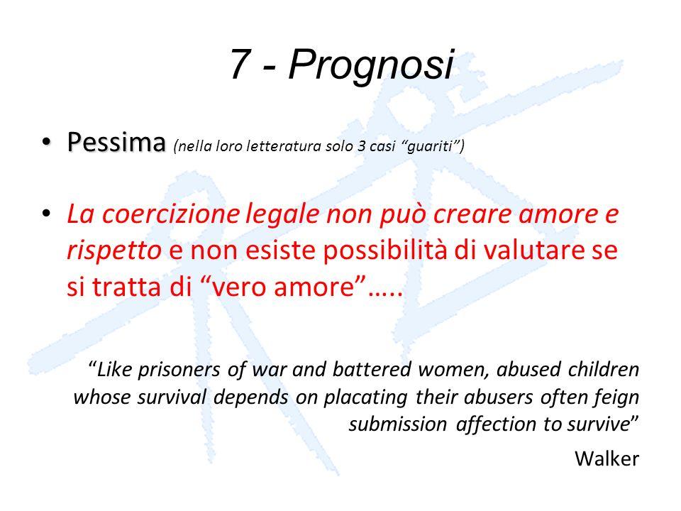 7 - Prognosi Pessima Pessima (nella loro letteratura solo 3 casi guariti) La coercizione legale non può creare amore e rispetto e non esiste possibili