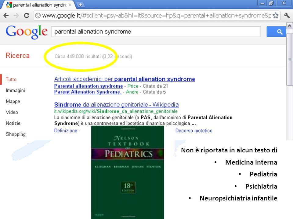 dott MS Pignotti Non è riportata in alcun testo di Medicina interna Pediatria Psichiatria Neuropsichiatria infantile