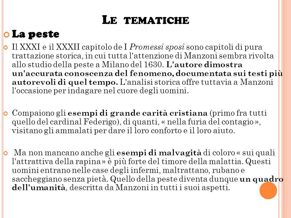 L E TEMATICHE La religione Esistono ne I Promessi sposi tre figure di religiosi : don Abbondio, fra Cristoforo, il cardinal Federigo, che esprimono tr