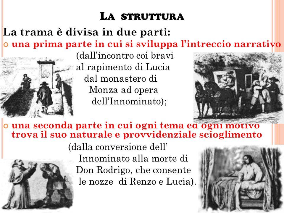 L A TRAMA Due giovani, Lucia Mondella e Renzo Tramaglino, stanno per sposarsi, ma un signorotto prepotente, don Rodrigo, fa minacciare il curato e imp