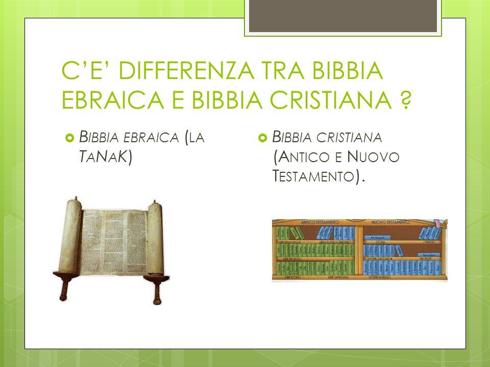 CE DIFFERENZA TRA BIBBIA EBRAICA E BIBBIA CRISTIANA ? B IBBIA EBRAICA ( LA T A N A K) B IBBIA CRISTIANA (A NTICO E N UOVO T ESTAMENTO ).