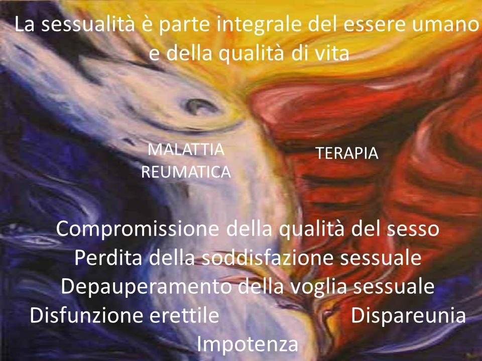 La sessualità è parte integrale del essere umano e della qualità di vita Compromissione della qualità del sesso Perdita della soddisfazione sessuale D