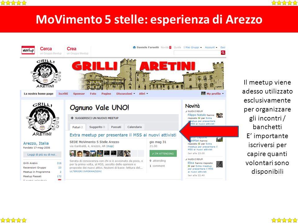 MoVimento 5 stelle: esperienza di Arezzo Il meetup viene adesso utilizzato esclusivamente per organizzare gli incontri / banchetti E importante iscriv