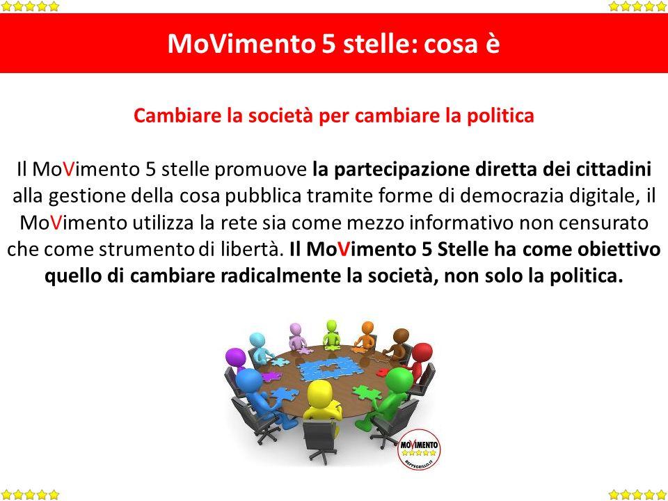 MoVimento 5 stelle: cosa è Cambiare la società per cambiare la politica Il MoVimento 5 stelle promuove la partecipazione diretta dei cittadini alla ge