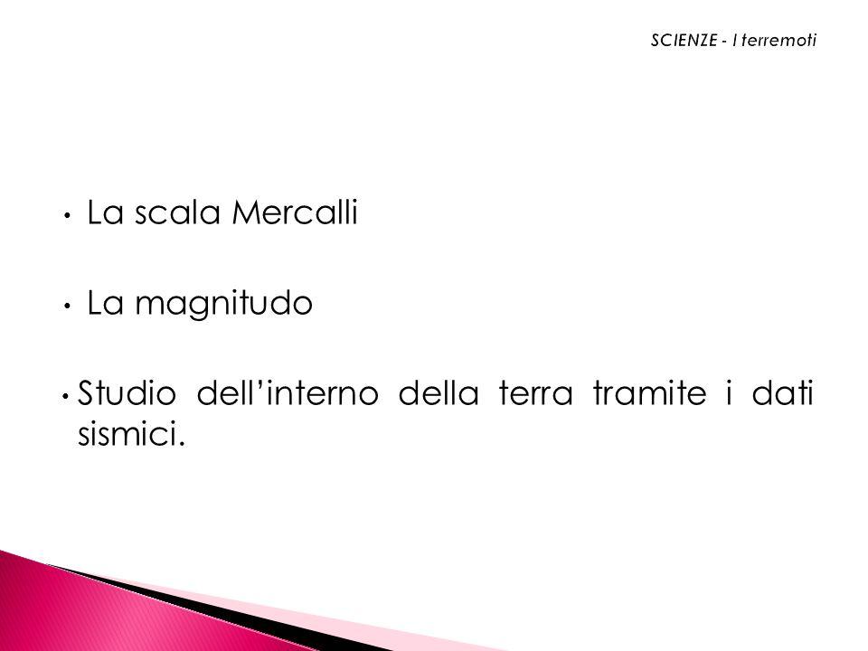 La scala Mercalli La magnitudo Studio dellinterno della terra tramite i dati sismici.
