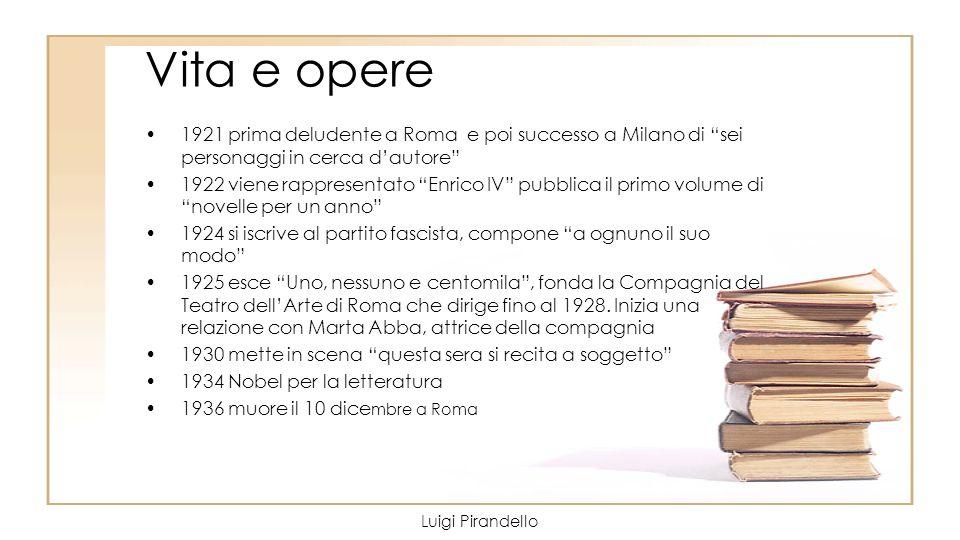 Vita e opere 1921 prima deludente a Roma e poi successo a Milano di sei personaggi in cerca dautore 1922 viene rappresentato Enrico IV pubblica il pri