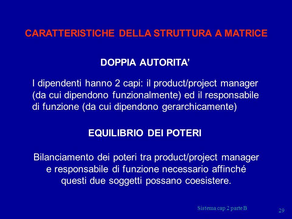 Sistema cap 2 parte B 29 CARATTERISTICHE DELLA STRUTTURA A MATRICE DOPPIA AUTORITA I dipendenti hanno 2 capi: il product/project manager (da cui dipen