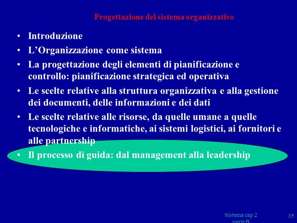 Progettazione del sistema organizzativo Introduzione LOrganizzazione come sistema La progettazione degli elementi di pianificazione e controllo: piani