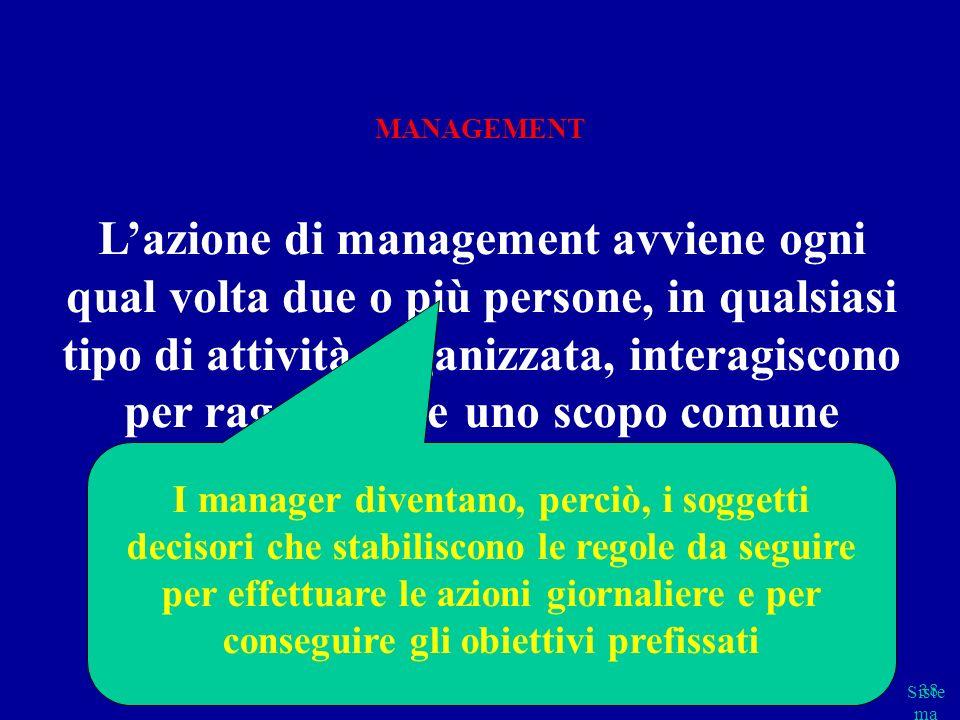 Siste ma cap 2 parte B 38 Lazione di management avviene ogni qual volta due o più persone, in qualsiasi tipo di attività organizzata, interagiscono pe