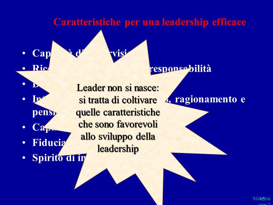 Sistema cap 2 parte B 45 Caratteristiche per una leadership efficace Capacità di supervisione Ricerca ed esercizio della responsabilità Desiderio di v