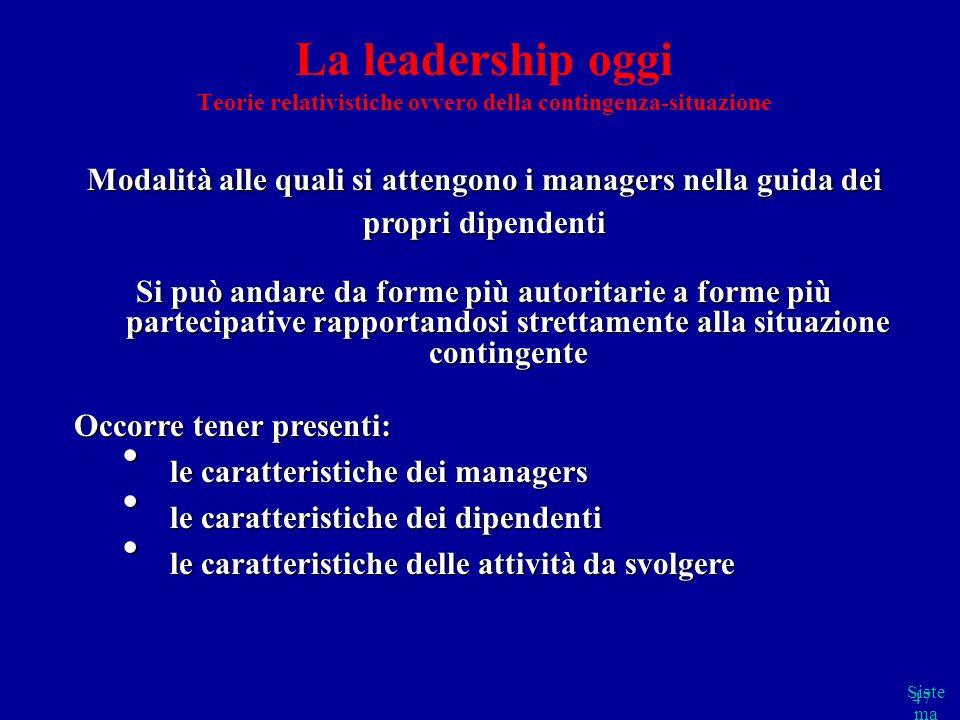 Siste ma cap 2 parte B 47 La leadership oggi Teorie relativistiche ovvero della contingenza-situazione Modalità alle quali si attengono i managers nel