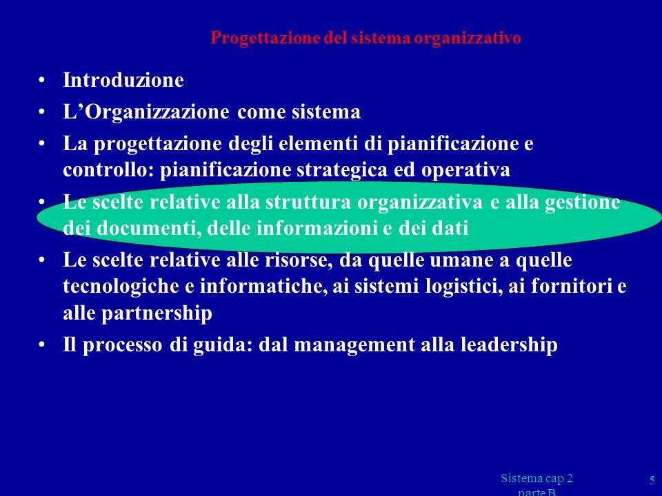 Sistema cap 2 parte B 26 DOCUMENTI CHE DESCRIVONO LA STRUTTURA ORGANIZZATIVA ORGANIGRAMMI Rappresentazioni grafica della struttura organizzativa formale LETTERE DI INCARICO, DISPOSIZION DI DIREZIONE, ORDIN DI SERVIZIO … MANUALI (AZIENDALI, DELLA QUALITÀ, DI COMMESSA, ….) PROCEDURE, ISTRUZIONI MANSIONARI Documenti contenente la descrizione delle mansioni assegnate alle singole posizioni in termini di compiti, responsabilità e relazioni MATRICI DELLE RESPONSABILITÀ (GISO – Grafico Interrelazioni Sistema Organizzativo) Matrici sulla quale sono indicati, per ogni posizione della struttura, i compiti e le responsabilità