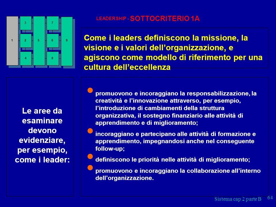 Sistema cap 2 parte B 64 LEADERSHIP - SOTTOCRITERIO 1A Come i leaders definiscono la missione, la visione e i valori dellorganizzazione, e agiscono co