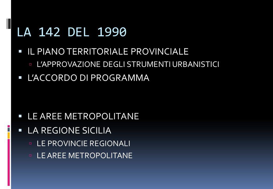 IL RUOLO DELLE REGIONI Il Dpr 616/1976 ed trasferimento di competenze Le nuove Leggi urbanistiche e i nuovi Piani Territoriale Regionali La Legge 142/