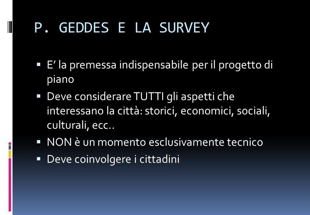 PATRICK GEDDES ( 1854-1932 ) Laureato in biologia si interessa di studi sociologici ed urbani. Autore di Cities in evolution (1915), nel quale descriv