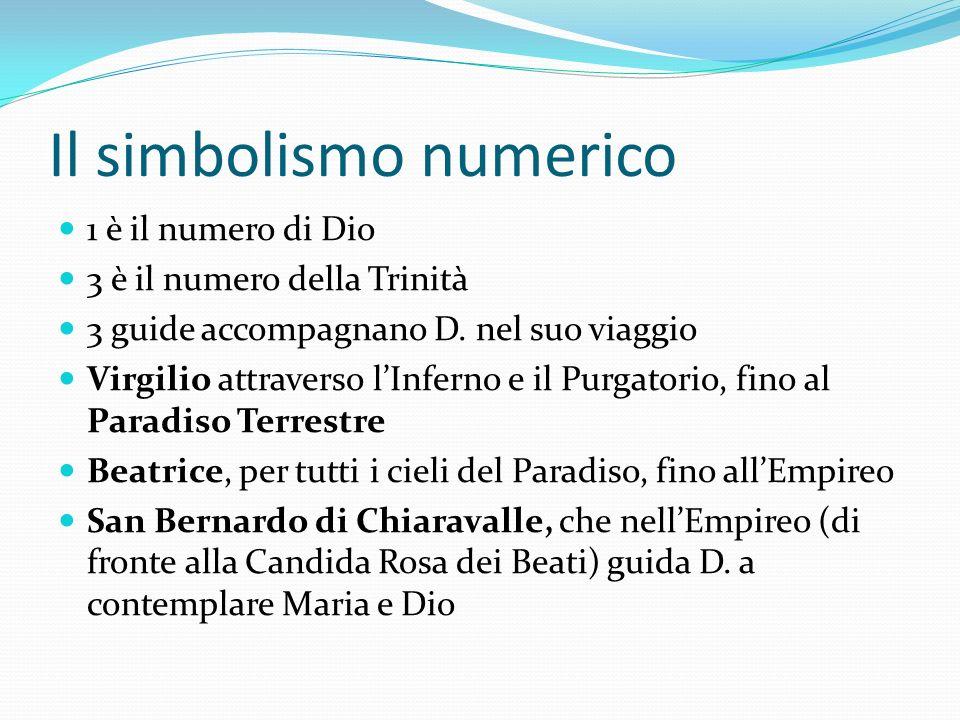 Il simbolismo numerico 1 è il numero di Dio 3 è il numero della Trinità 3 guide accompagnano D. nel suo viaggio Virgilio attraverso lInferno e il Purg