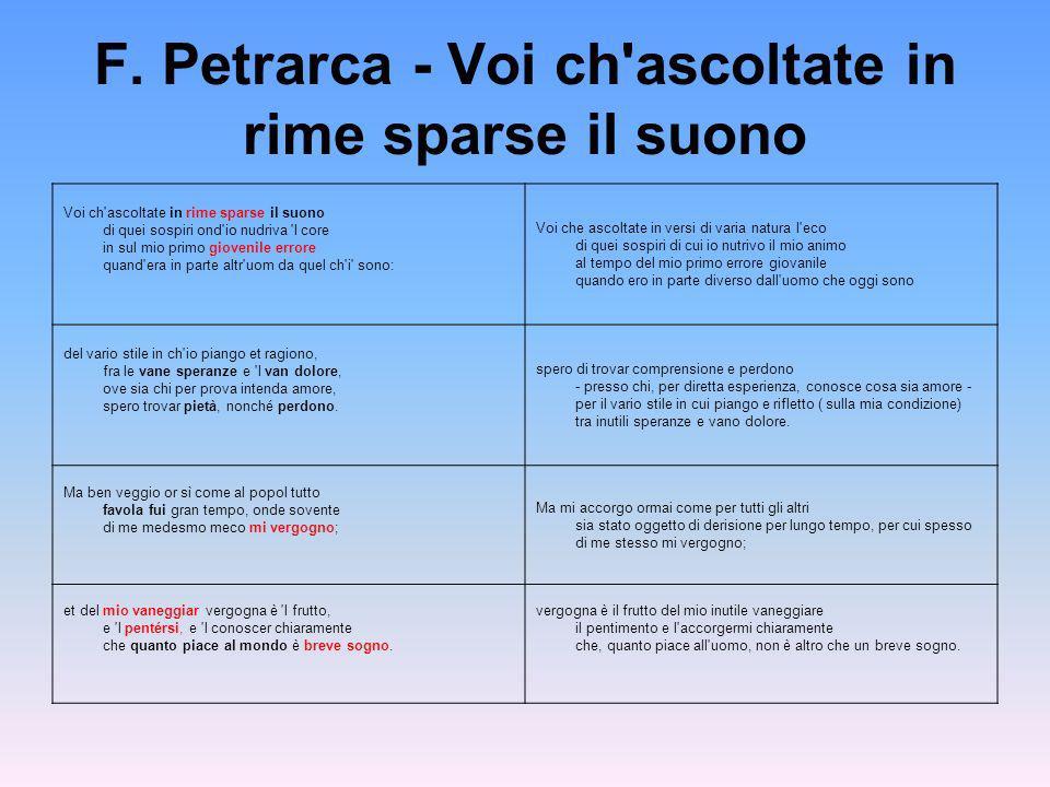 F. Petrarca - Voi ch'ascoltate in rime sparse il suono Voi ch'ascoltate in rime sparse il suono di quei sospiri ond'io nudriva 'l core in sul mio prim