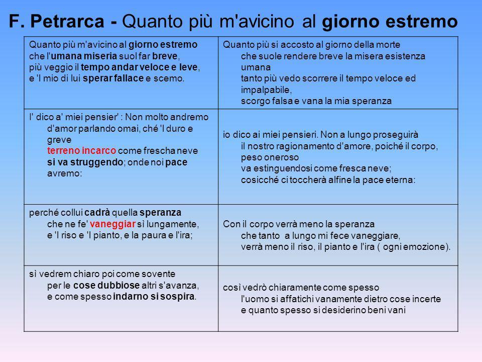 F. Petrarca - Quanto più m'avicino al giorno estremo Quanto più m'avicino al giorno estremo che l'umana miseria suol far breve, più veggio il tempo an