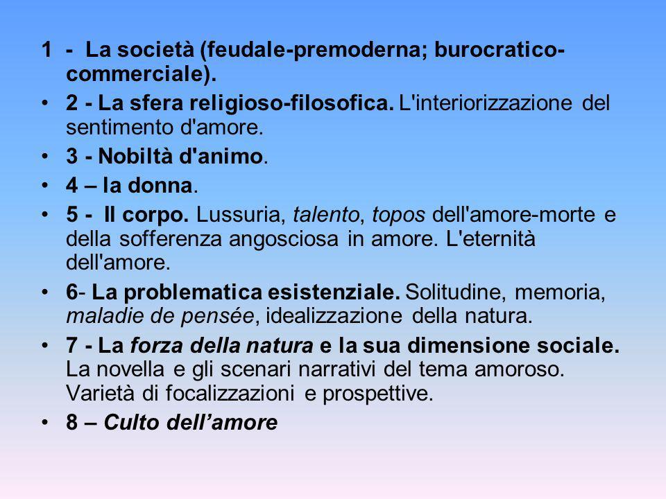 1 - La società (feudale-premoderna; burocratico- commerciale). 2 - La sfera religioso-filosofica. L'interiorizzazione del sentimento d'amore. 3 - Nobi