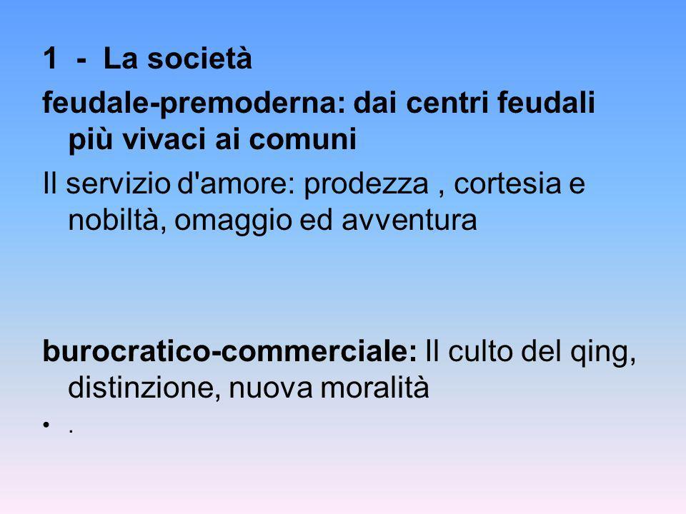 1 - La società feudale-premoderna: dai centri feudali più vivaci ai comuni Il servizio d'amore: prodezza, cortesia e nobiltà, omaggio ed avventura bur
