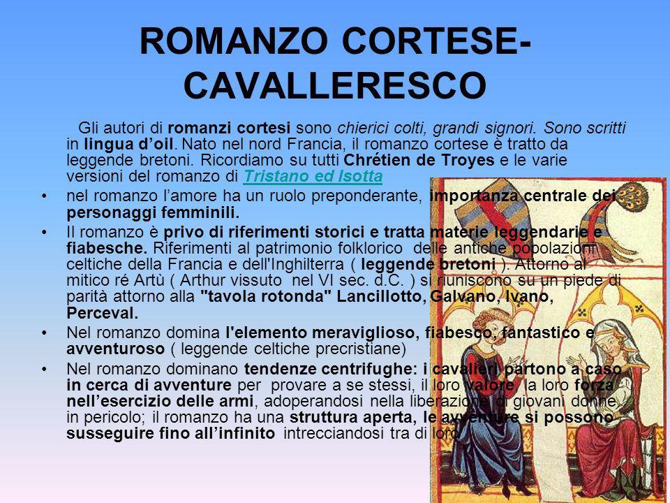 ROMANZO CORTESE- CAVALLERESCO Gli autori di romanzi cortesi sono chierici colti, grandi signori. Sono scritti in lingua doil. Nato nel nord Francia, i
