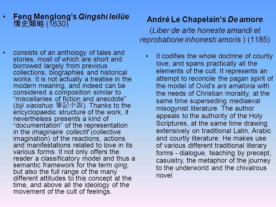 André Le Chapelains De amore (Liber de arte honeste amandi et reprobatione inhonesti amoris ) (1185) consists of an anthology of tales and stories, mo