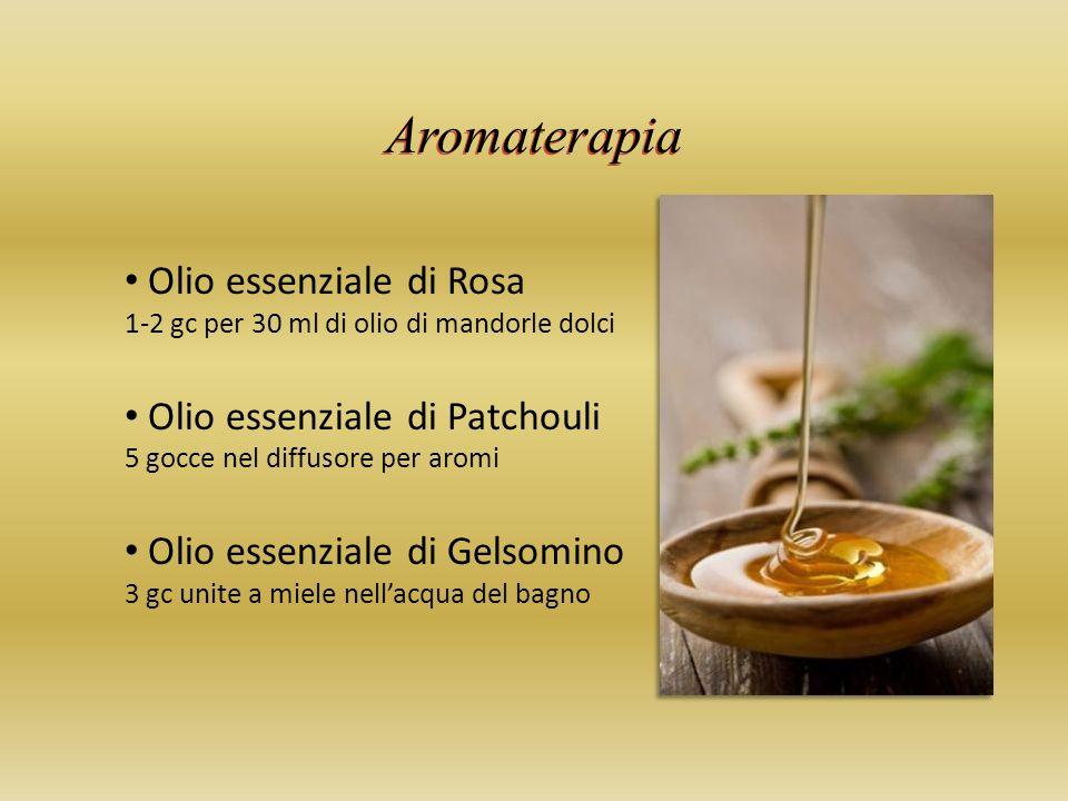 Aromaterapia Olio essenziale di Rosa 1-2 gc per 30 ml di olio di mandorle dolci Olio essenziale di Patchouli 5 gocce nel diffusore per aromi Olio essenziale di Gelsomino 3 gc unite a miele nellacqua del bagno