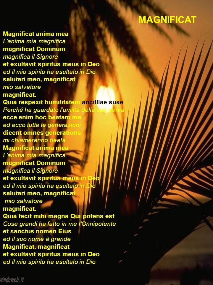 Magnificat anima mea Lanima mia magnifica magnificat Dominum magnifica il Signore et exultavit spiritus meus in Deo ed il mio spirito ha esultato in D