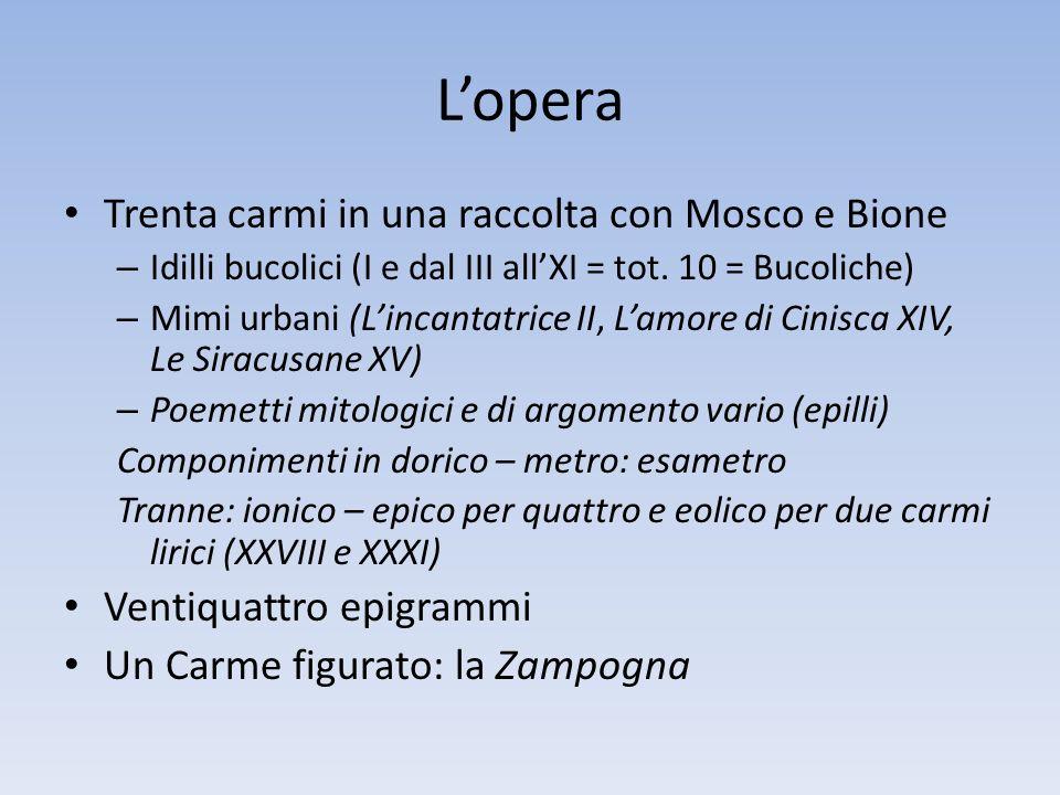 Lopera Trenta carmi in una raccolta con Mosco e Bione – Idilli bucolici (I e dal III allXI = tot. 10 = Bucoliche) – Mimi urbani (Lincantatrice II, Lam