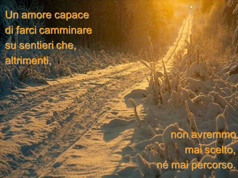 Un amore capace di farci camminare su sentieri che, altrimenti, non avremmo mai scelto, né mai percorso.