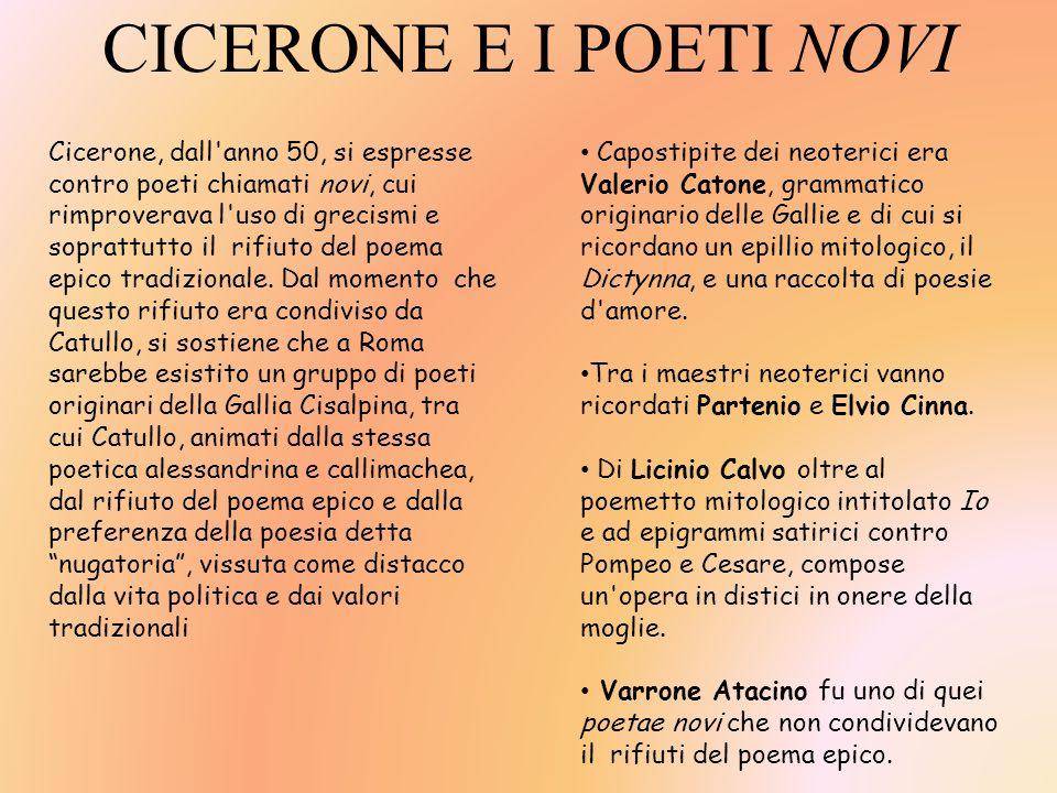 CICERONE E I POETI NOVI Cicerone, dall'anno 50, si espresse contro poeti chiamati novi, cui rimproverava l'uso di grecismi e soprattutto il rifiuto de