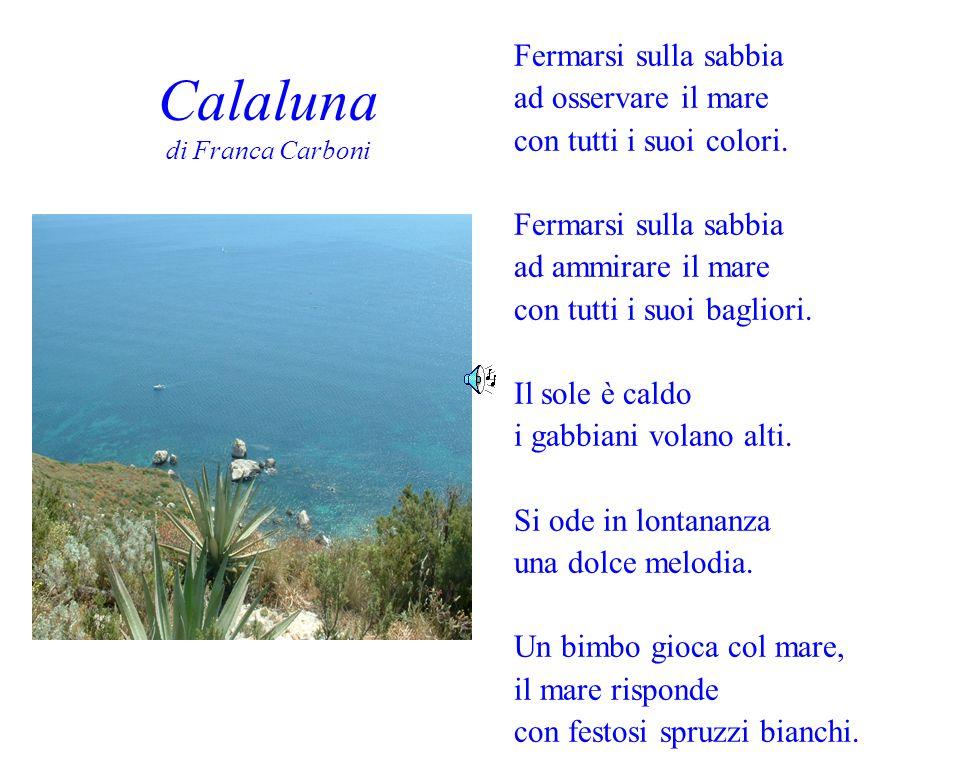 Calaluna di Franca Carboni Fermarsi sulla sabbia ad osservare il mare con tutti i suoi colori. Fermarsi sulla sabbia ad ammirare il mare con tutti i s
