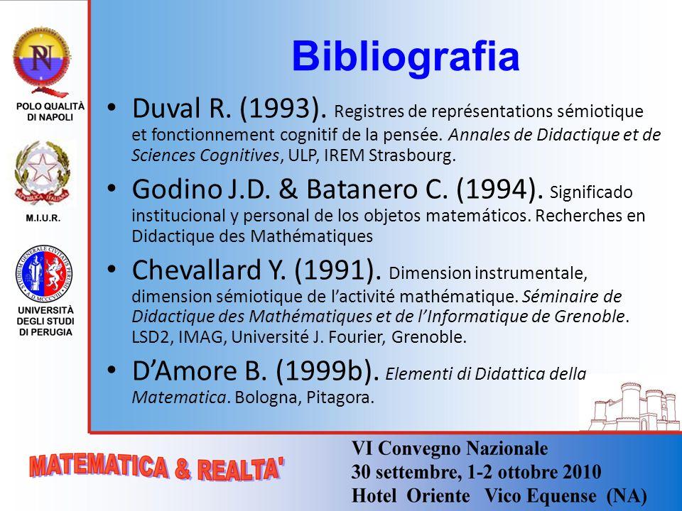 Bibliografia Duval R. (1993). Registres de représentations sémiotique et fonctionnement cognitif de la pensée. Annales de Didactique et de Sciences Co