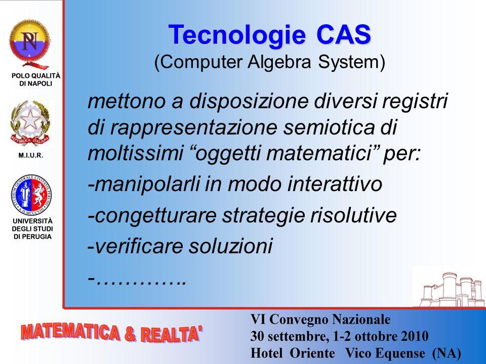 Tecnologie CAS Tecnologie CAS (Computer Algebra System) mettono a disposizione diversi registri di rappresentazione semiotica di moltissimi oggetti ma