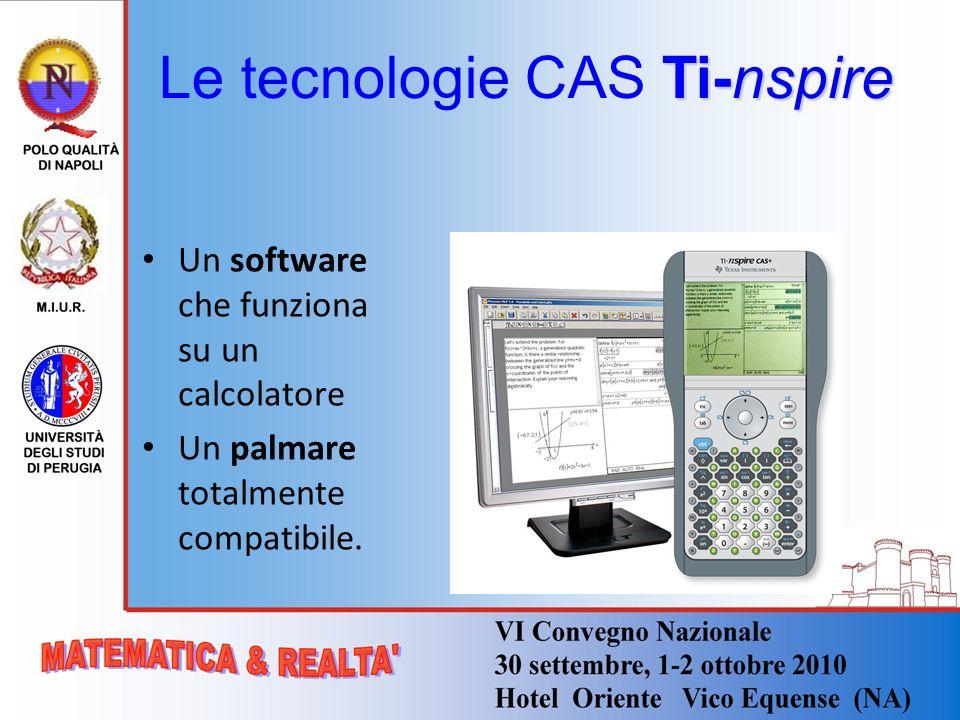 Ti-nspire Le tecnologie CAS Ti-nspire Un software che funziona su un calcolatore Un palmare totalmente compatibile.