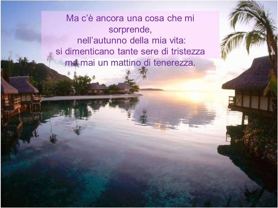 Ciò che ho imparato è in tre, quattro parole: il giorno che qualcuno vi ama è molto bello; io posso ben dire: E MOLTO BELLO!