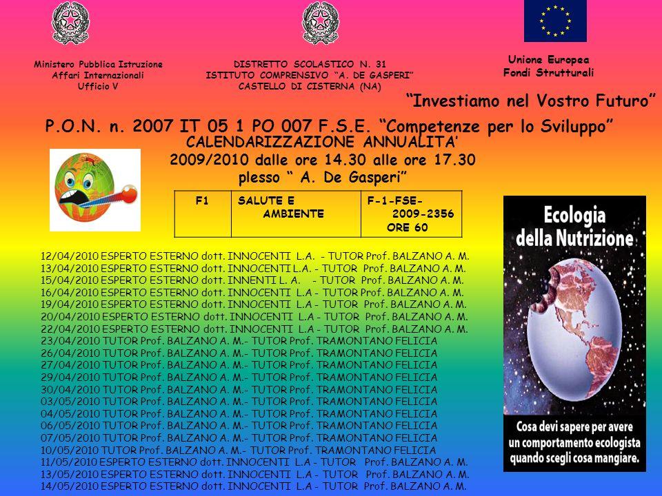 F1SALUTE E AMBIENTE F-1-FSE- 2009-2356 ORE 60 Ministero Pubblica Istruzione Affari Internazionali Ufficio V DISTRETTO SCOLASTICO N. 31 ISTITUTO COMPRE