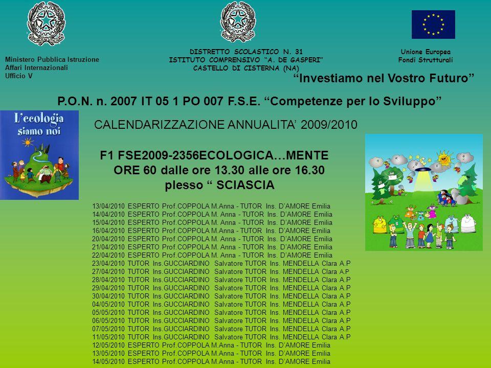 DISTRETTO SCOLASTICO N. 31 ISTITUTO COMPRENSIVO A. DE GASPERI CASTELLO DI CISTERNA (NA) Unione Europea Fondi Strutturali Investiamo nel Vostro Futuro