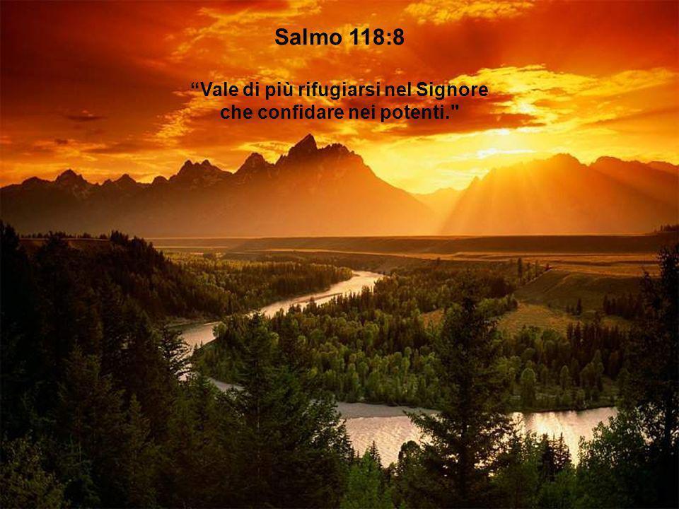 Salmo 118:8 Vale di più rifugiarsi nel Signore che confidare nei potenti.